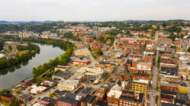 Aerial Perspective Over The Riverfront Downtown City Center Morgantown West Virginia stock photo