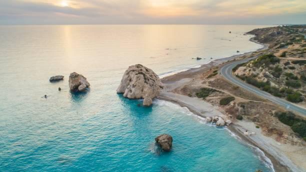 aerial petra tou romiou, paphos, cyprus - cyprus стоковые фото и изображения