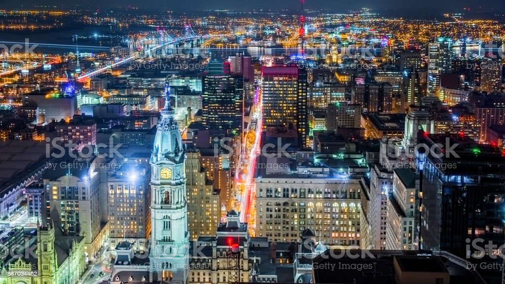 Aerial Philadelphia cityscape by night stock photo