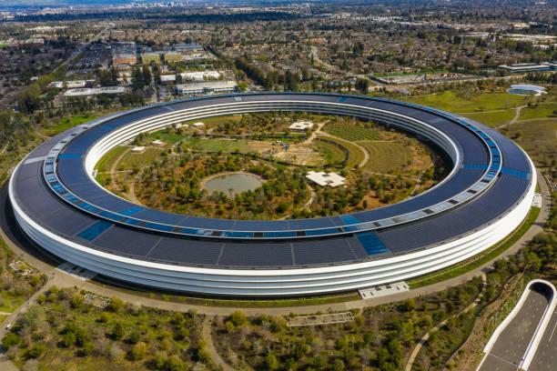 Aerial photo Apple Park spaceship Cupertino CA