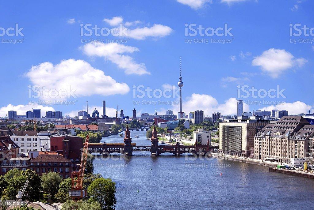 aerial photo berlin skyline stock photo