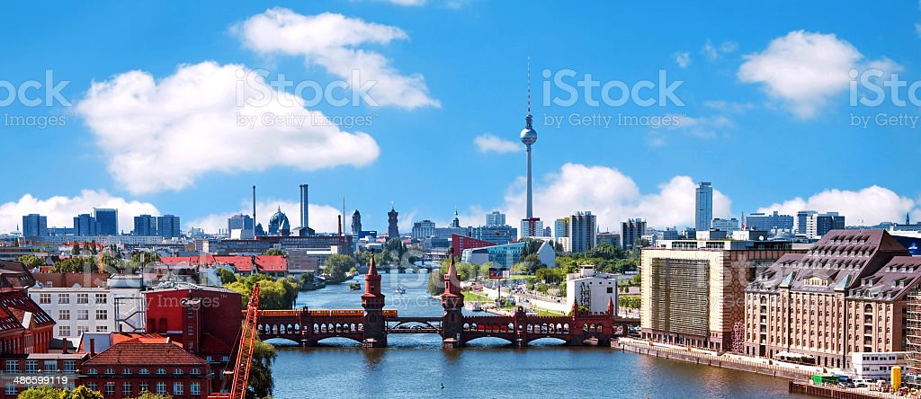 aerial photo berlin skyline stock photo