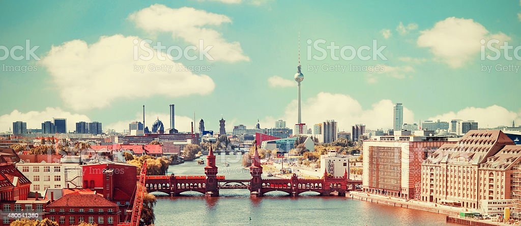 aerial photo berlin skyline retro stock photo