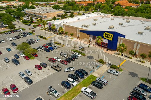 Orlando, FL, USA - June 9, 2019: Aerial photo Best Buy Orlando FL