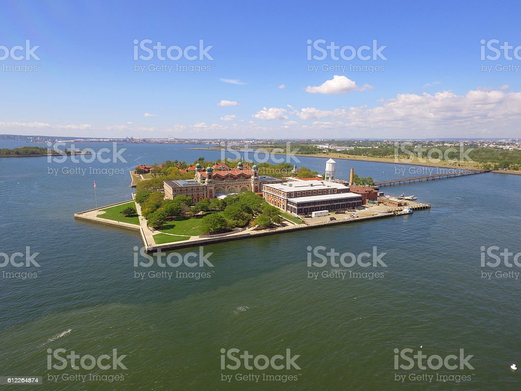 Aerial photo Ellis Island stock photo