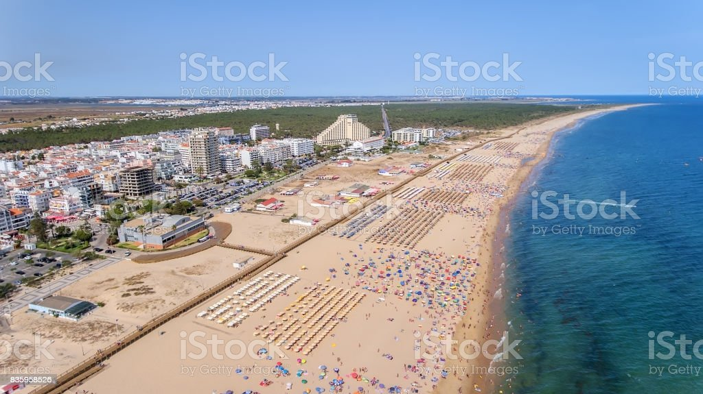Aerial. Photo from sky of the Monte Gordo beaches, shot from the drone. Portugal, Algarve stock photo