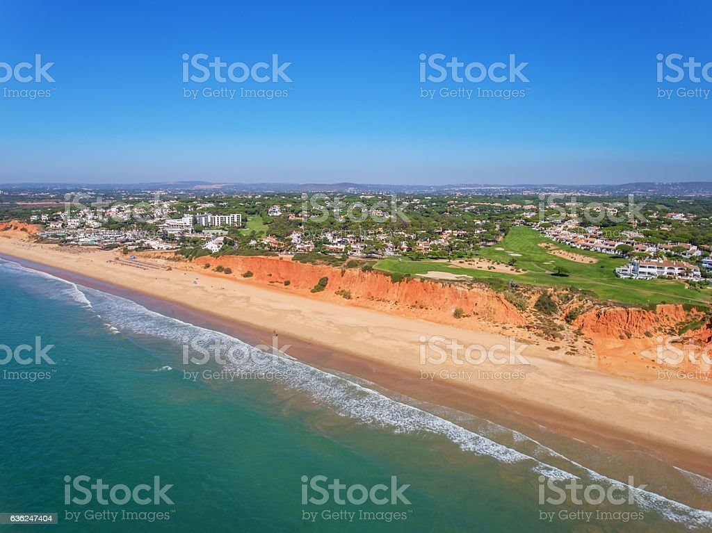Aerial. Photo from the sky, golf courses Vale de Lobo. stock photo