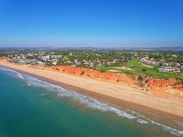Aerial. Photo from the sky, golf courses Vale de Lobo. stock photo