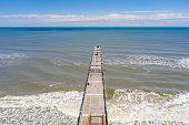 Aerial photo Jacksonville Beach fishing pier travel destination