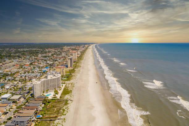Aerial photo Jacksonville Beach FL closed due to Coronavirus Covid 19 pandemic