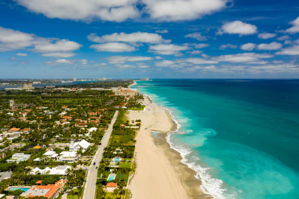 Aerial photo luxury mansion estate houses in West Palm Beach FL USA