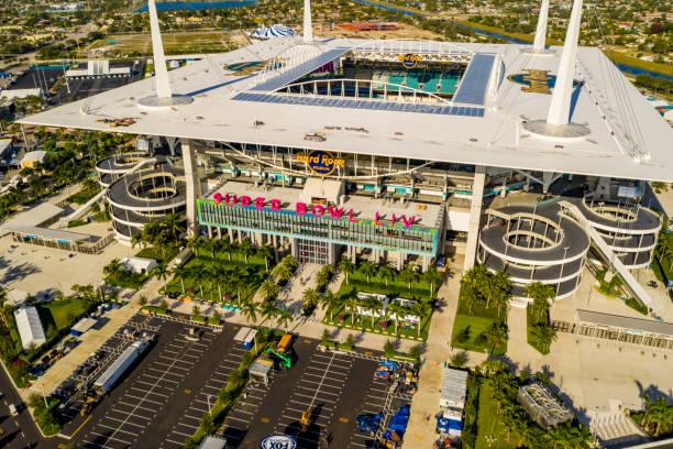 Aerial photo Miami Hard rock Stadium hosting 2020 Super Bowl LIV