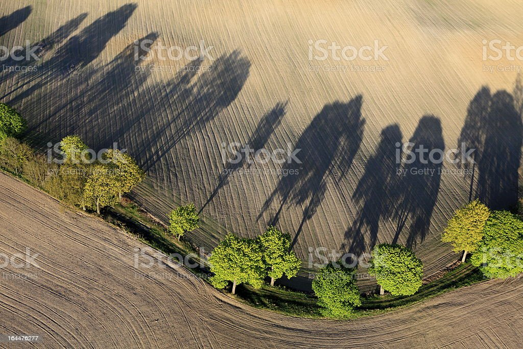aerial photo of a field in spring royalty-free stock photo
