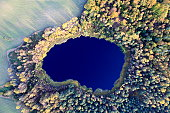 Aerial photo of a forest pond. Autumn