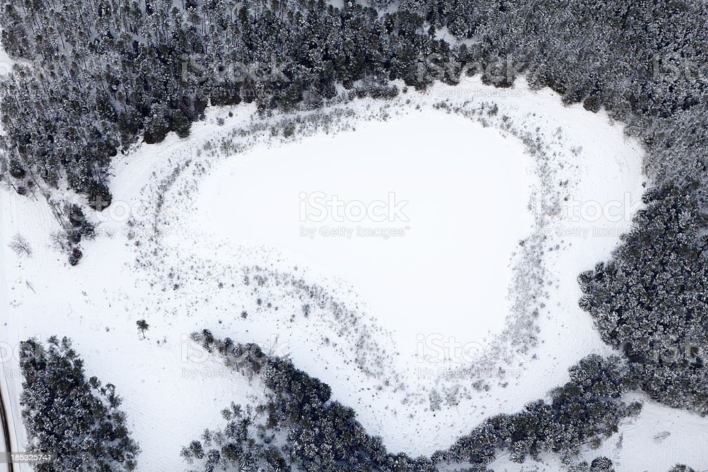 Aerial photo of a frozen lake stock photo