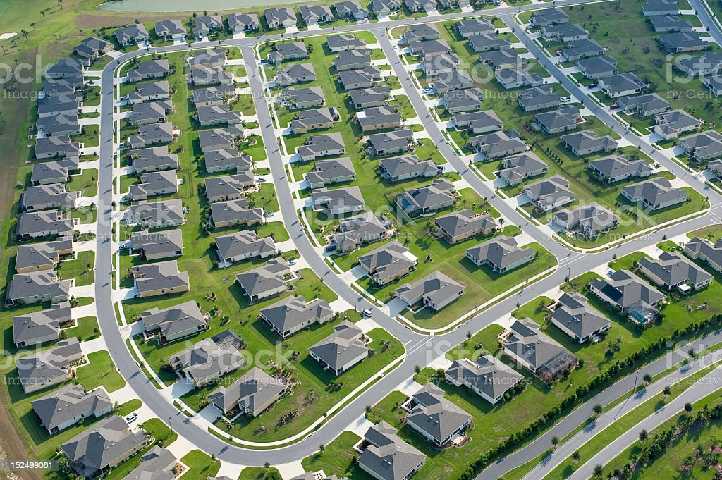 Aerial photo of a housing development stock photo