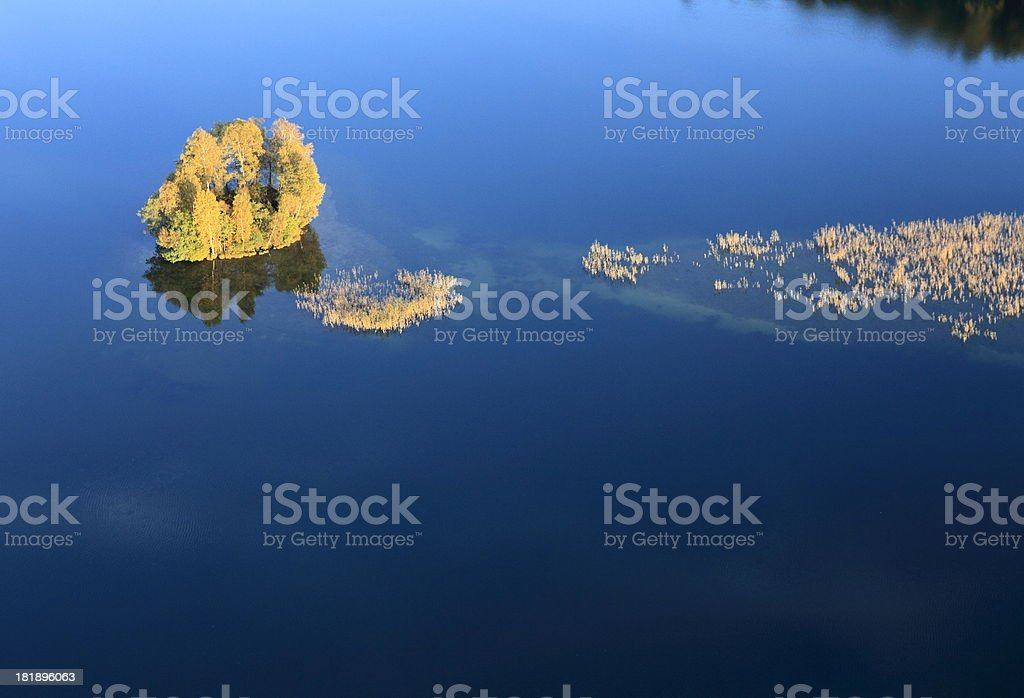 Aerial photo of a Island. Autumn royalty-free stock photo