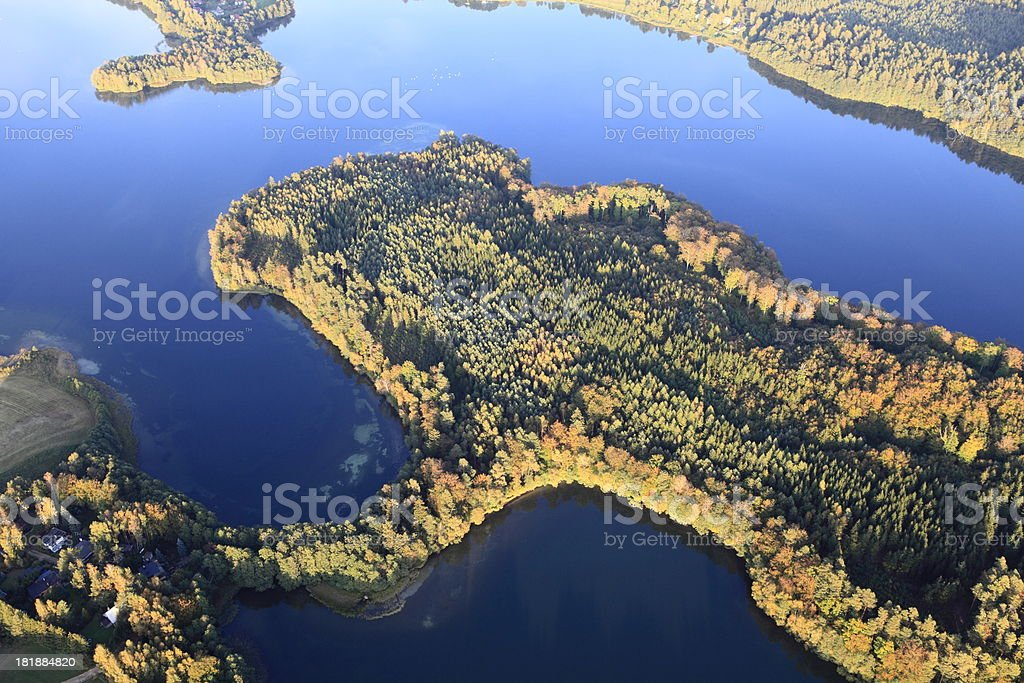 Aerial photo of a lake. Autumn royalty-free stock photo