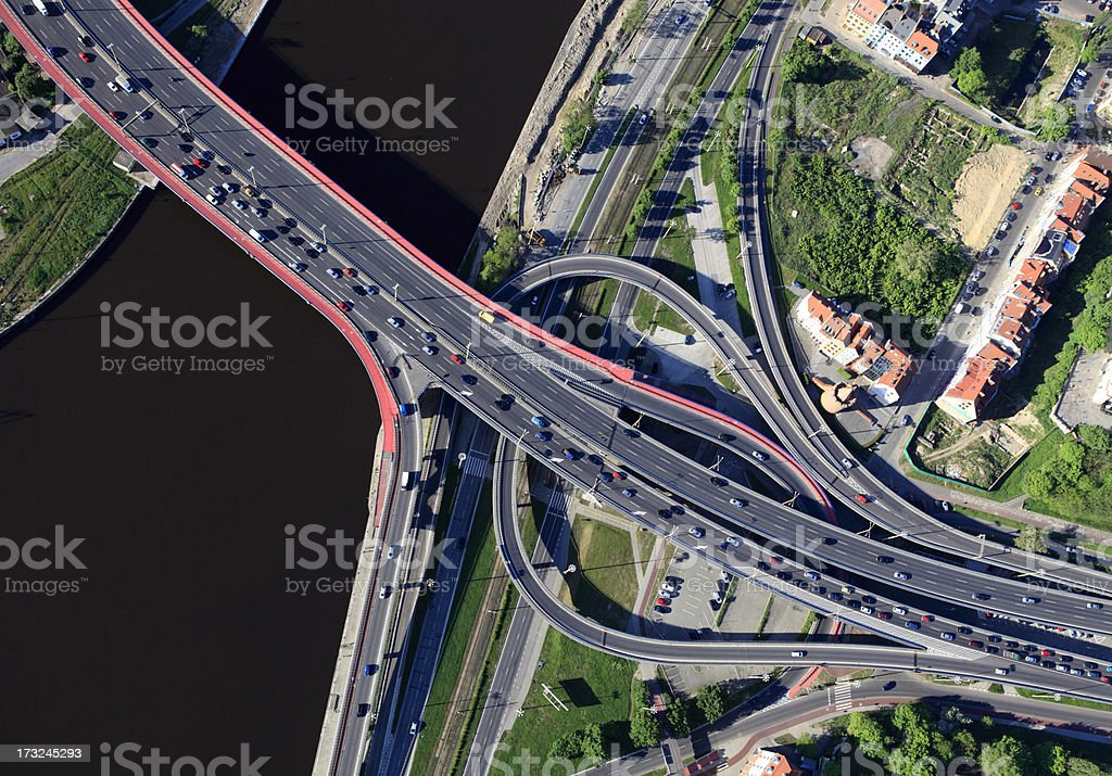 Aerial photo of a motorway junction royalty-free stock photo