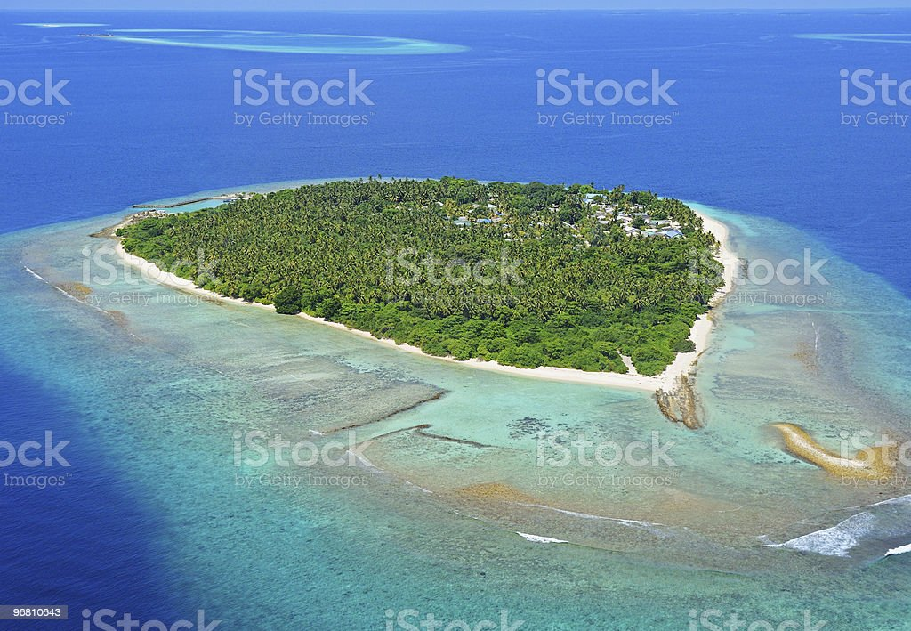 Aerial photo of a remote island in the ocean stock photo