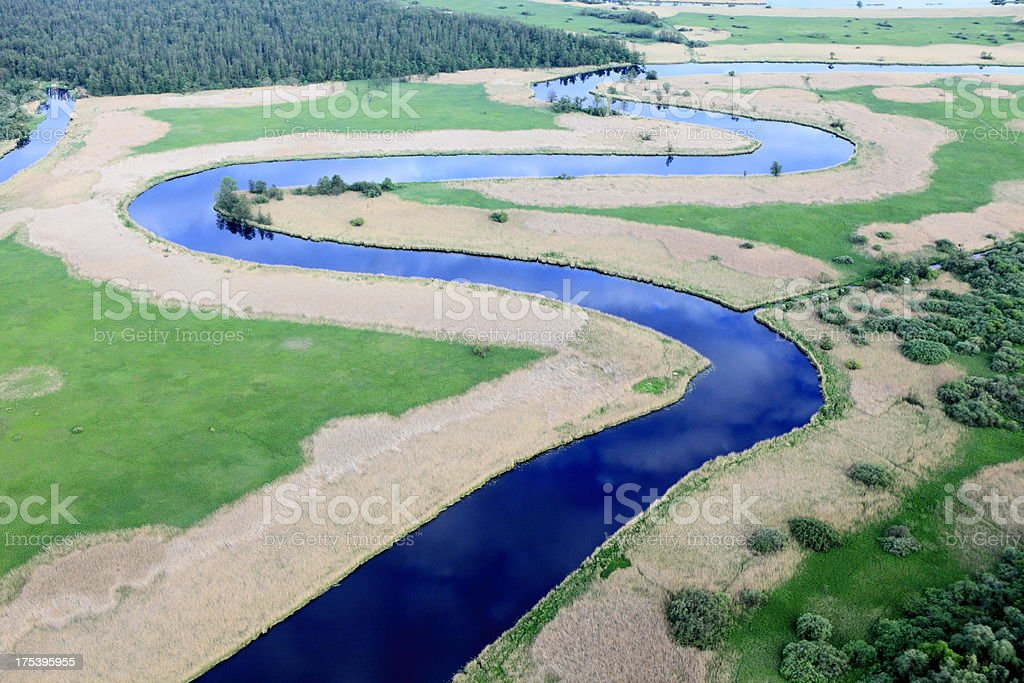 Aerial photo of a river stock photo