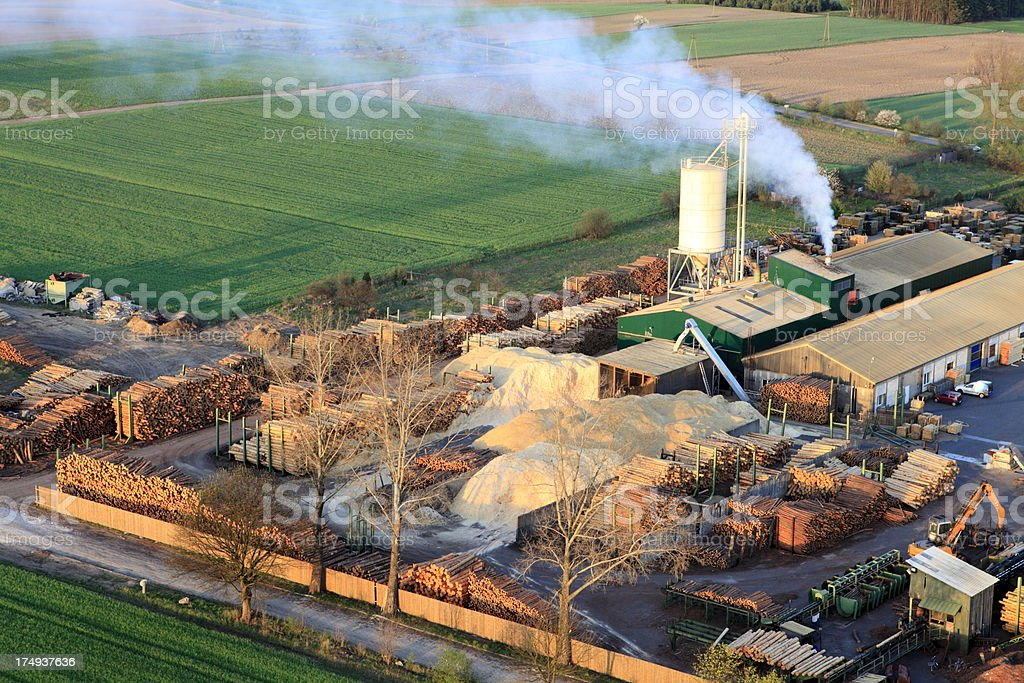 Aerial photo of a sawmill stock photo