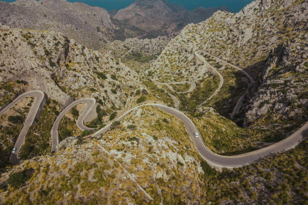 Aerial photo of a serpentine road on Mallorca, Balearic Islands, Spain. stock photo