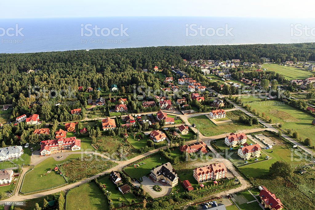 Aerial photo of a tourist settlement royalty-free stock photo