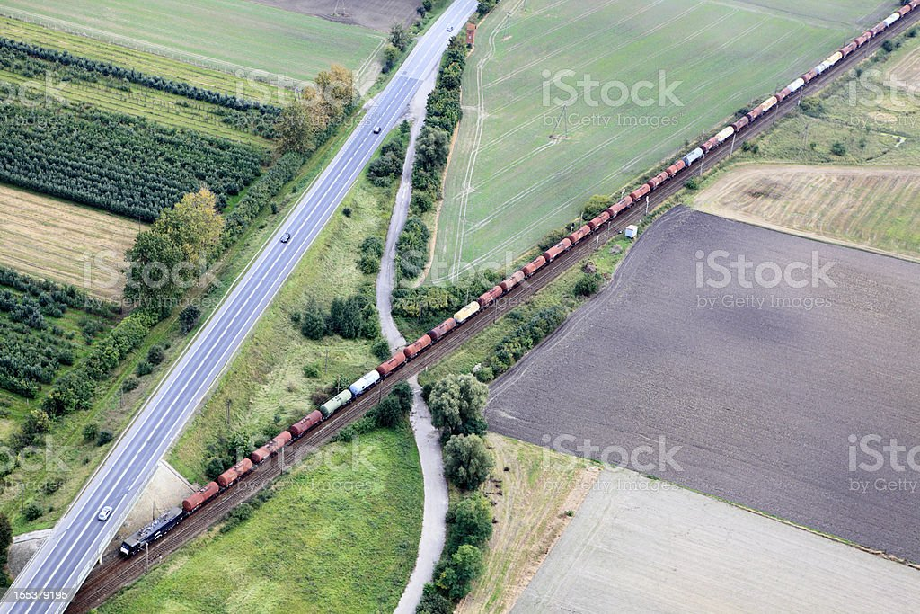 Aerial photo of a train stock photo