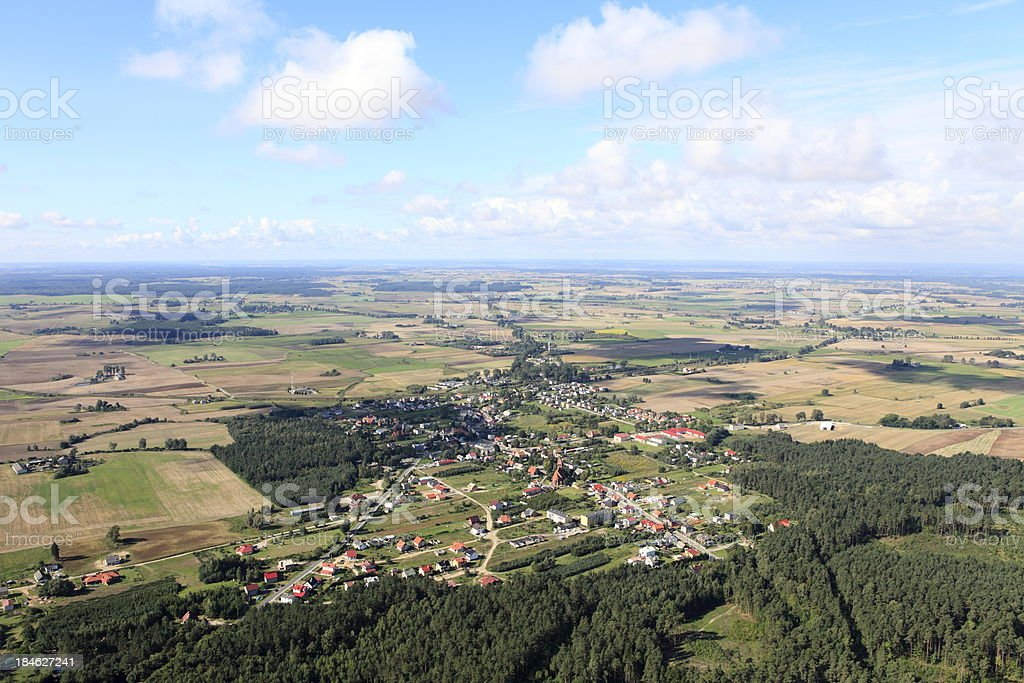Aerial photo of a village royalty-free stock photo