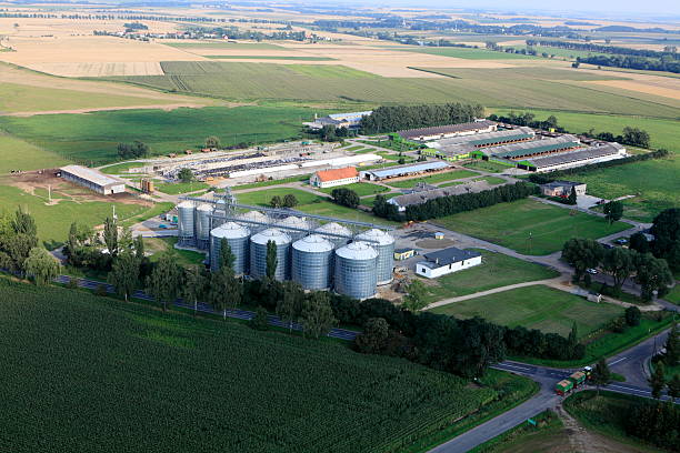 Aerial photo of Agricultural Storage stock photo