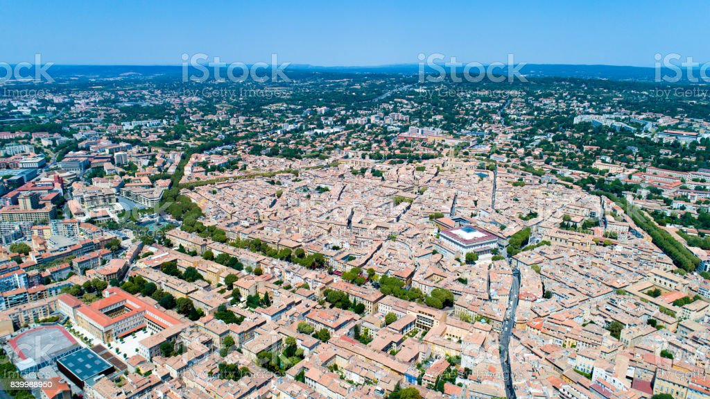 Aerial photo of Aix en Provence stock photo