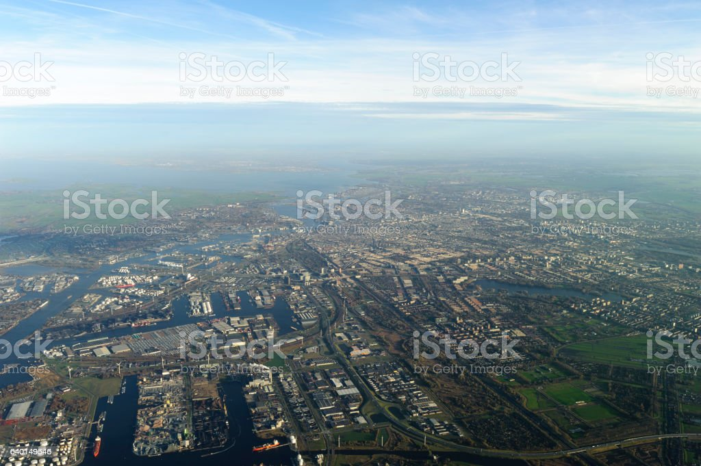 aerial photo of Amsterdam, netherlands stock photo