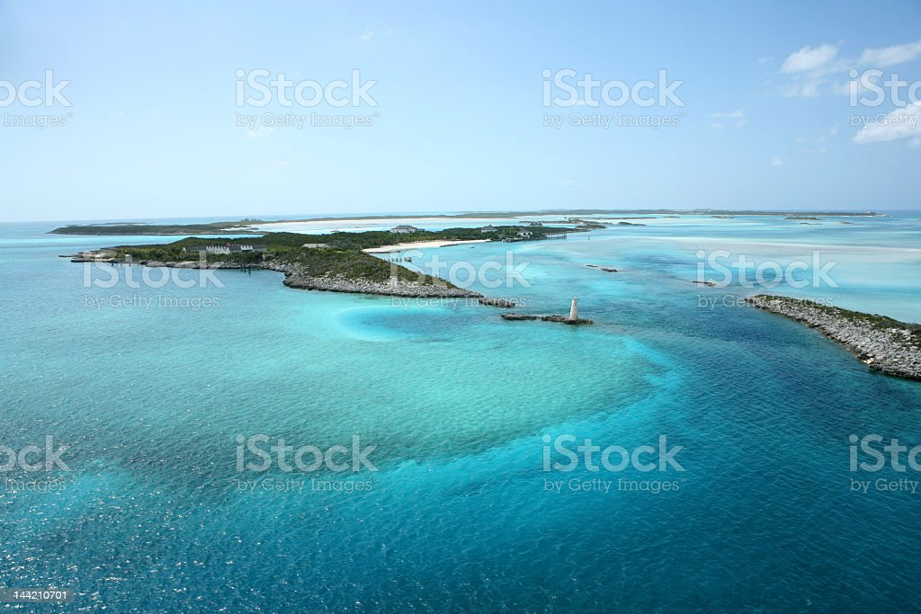 Aerial photo of Bahamian islands and blue-water coral reef  stock photo
