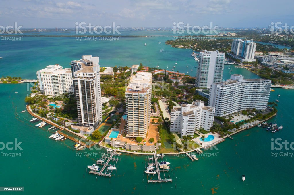 Aerial photo of Belle Isle Miami Beach stock photo