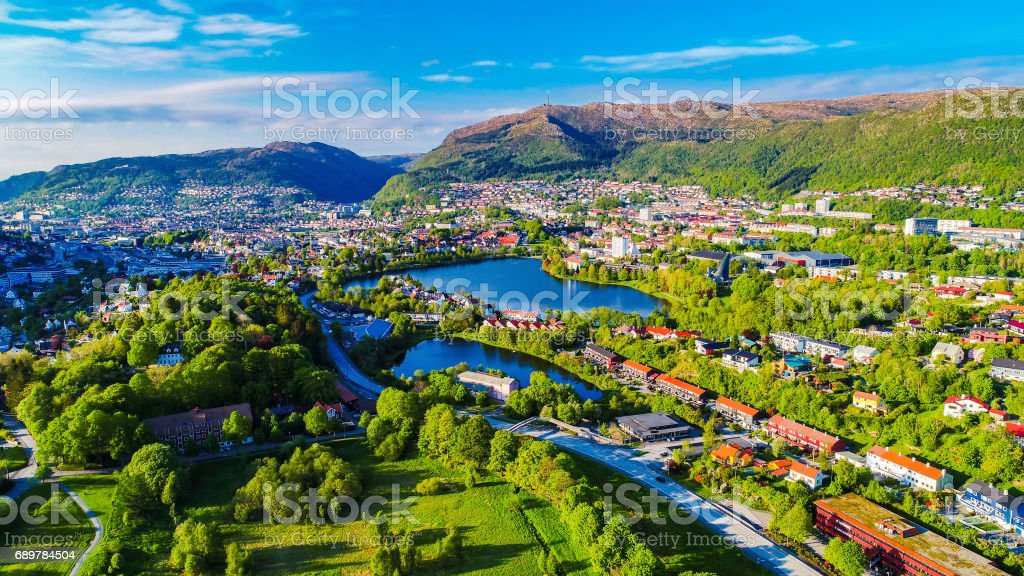 Aerial photo of Bergen city. Hordaland, Norway. stock photo