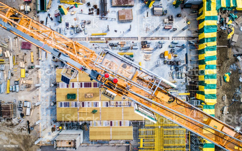 Aerial Photo of Busy Construction Site - foto stock