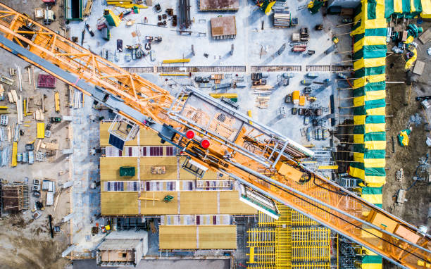 Aerial Photo of Busy Construction Site stock photo