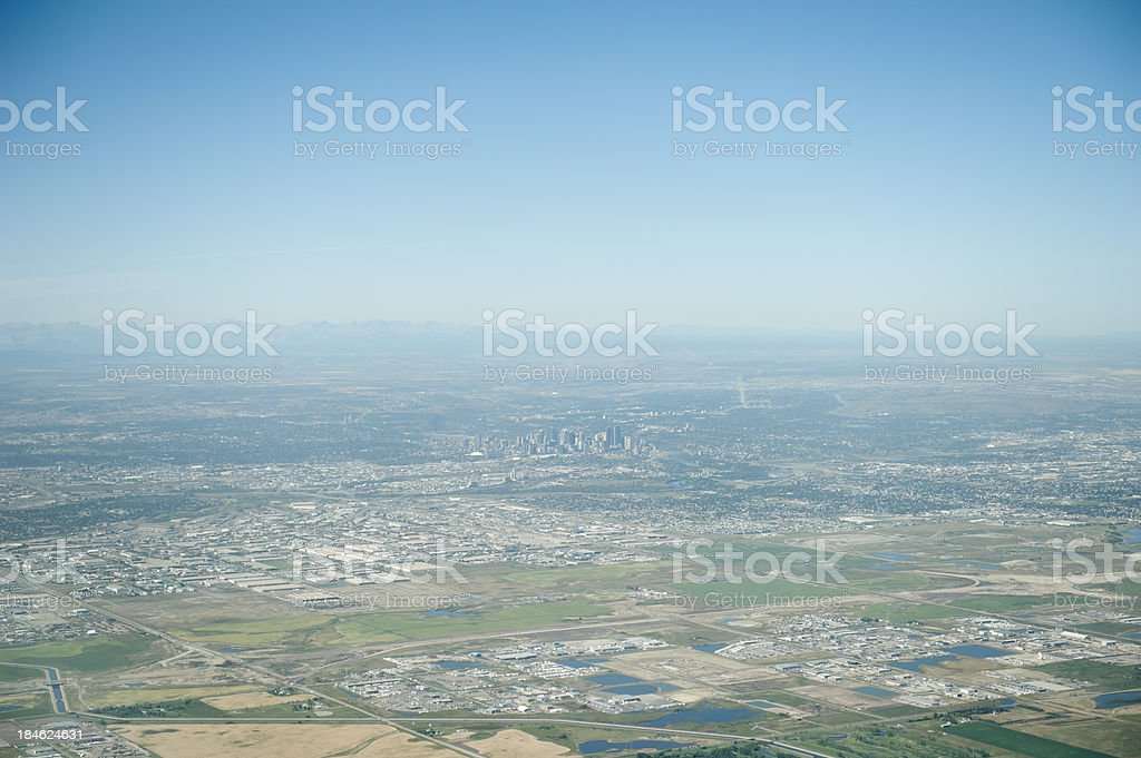 aerial photo of Calgary and the rockies royalty-free stock photo