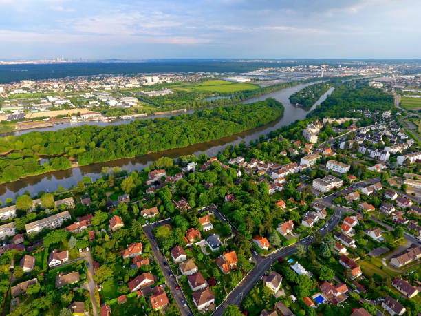 Aerial photo of Denouval district in Andresy Aerial view of a residential area in Andresy, Yvelines, France ile de france stock pictures, royalty-free photos & images