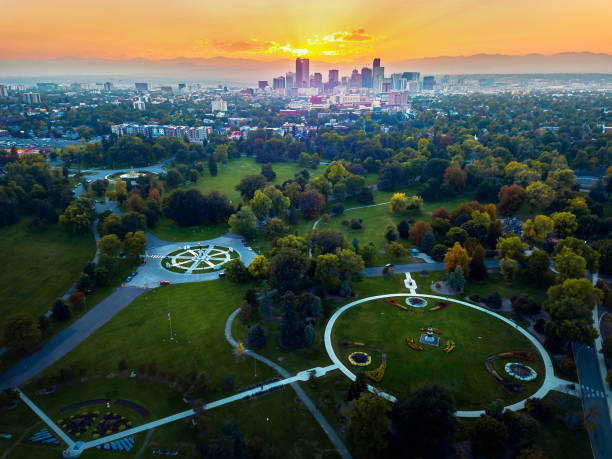 Aerial photo of Denver skyline at sunset Aerial photo of Denver skyline at sunset taken from a park denver stock pictures, royalty-free photos & images