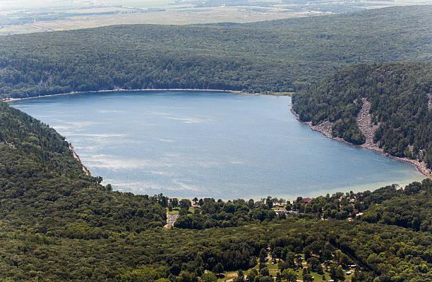 Aerial photo of Devils Lake, in Baraboo Wisconsin stock photo