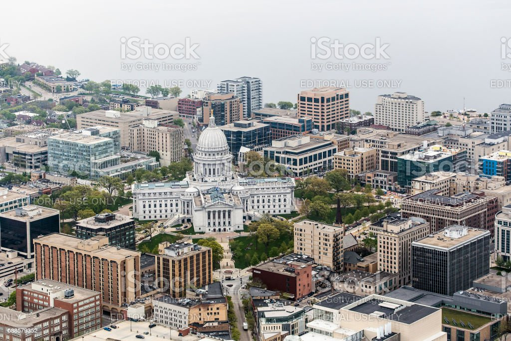 Aerial photo of downtown Madison, Wis. and the Wisconsin State Capitol. stock photo