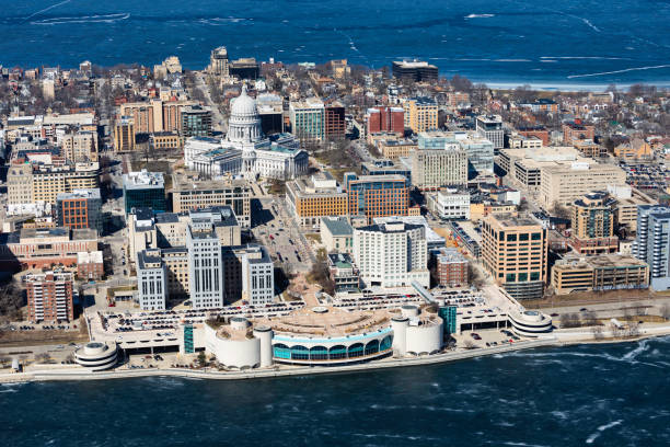 Aerial photo of downtown Madison, Wisconsin stock photo