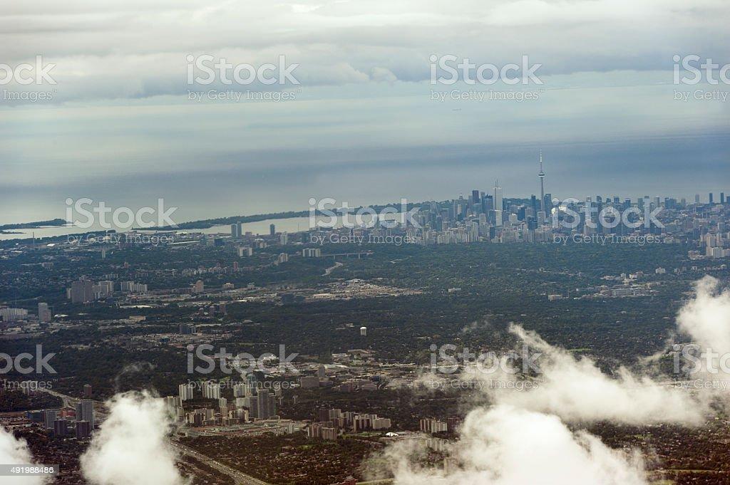 aerial photo of downtown toronto stock photo