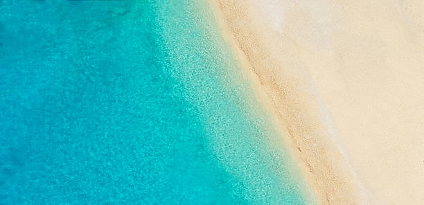 Aerial photo of empty beach stock photo