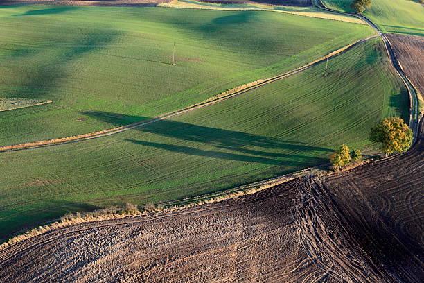 Aerial photo of Farmland. Autumn stock photo