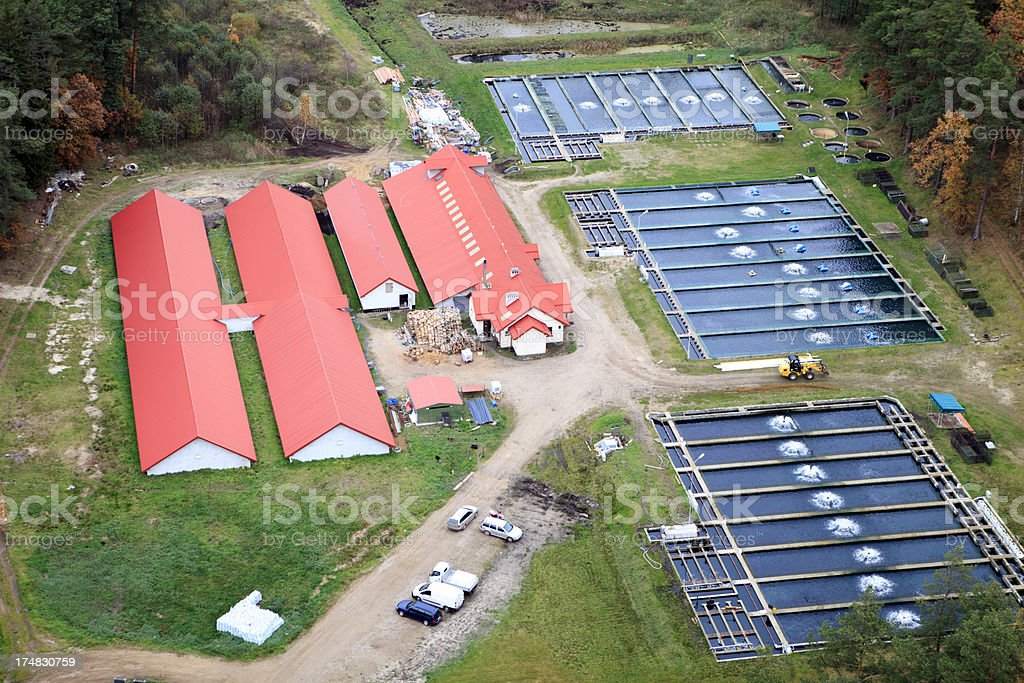 Aerial photo of fish farm stock photo