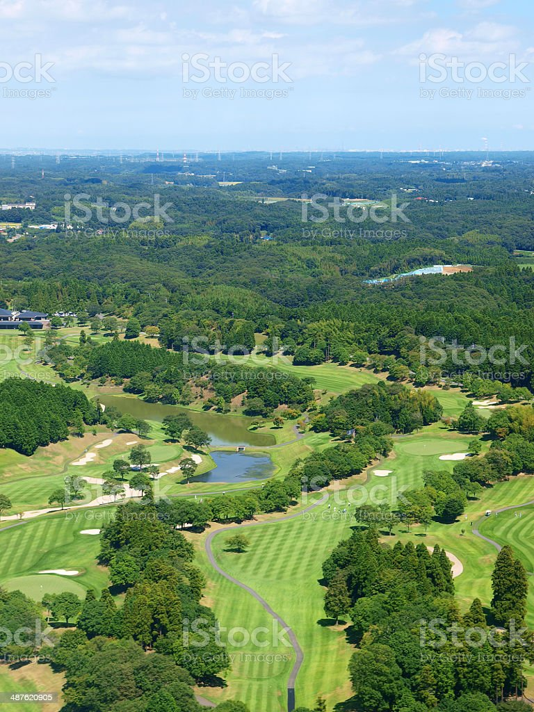 Aerial photo of Golf course stock photo