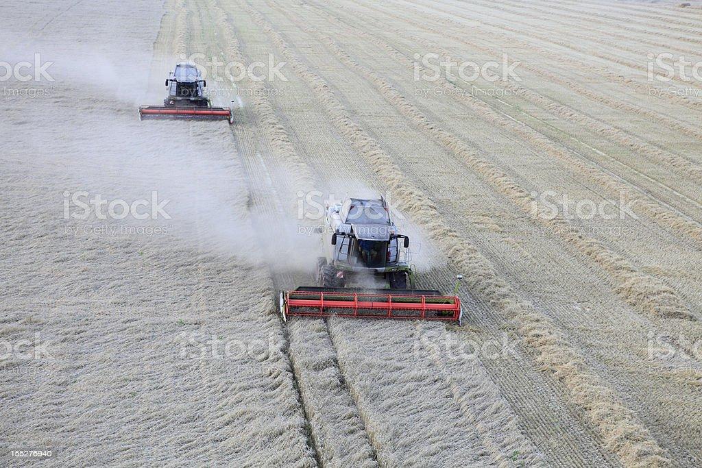 Aerial photo of grain harvest royalty-free stock photo